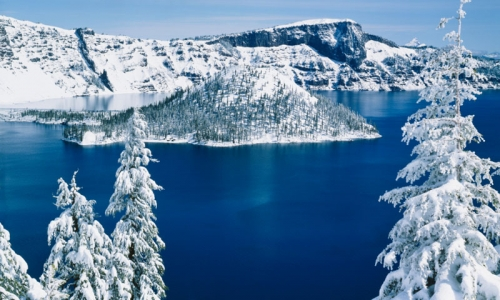 Crater Lake National Park Winter Snow