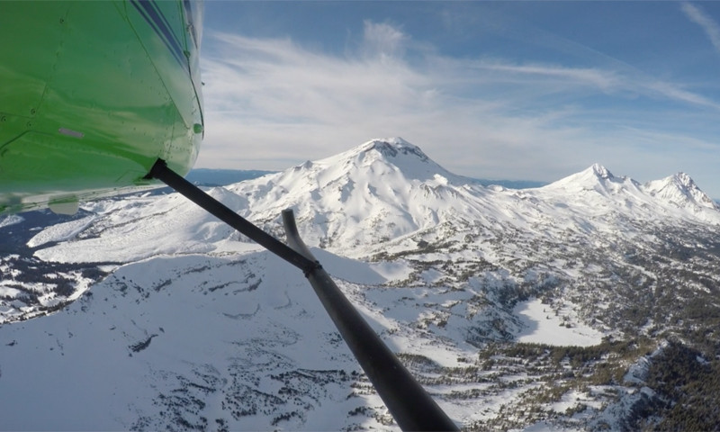 three sisters mountains from heli tour